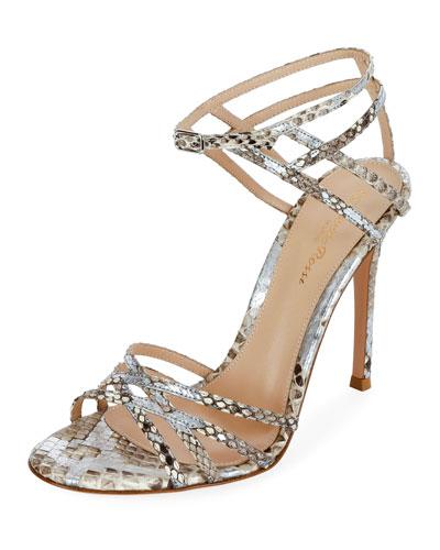 Strappy Metallic Python Sandals