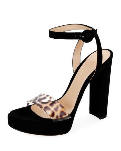 Suede Platform Leopard-Strap Sandals