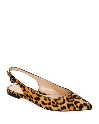 Leopard Calf Hair Slingback Flats