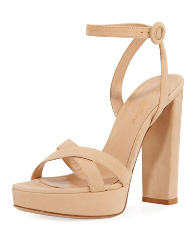 Leather Ankle-Strap Platform Sandals