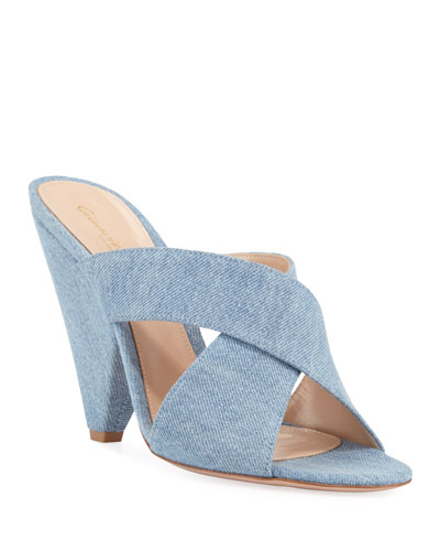 Denim Cone-Heel Slide Mules