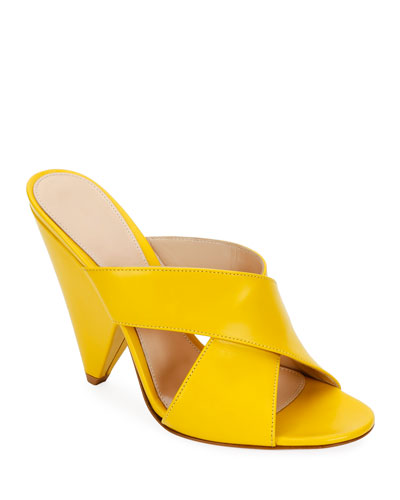 Cone-Heel Slide Mules