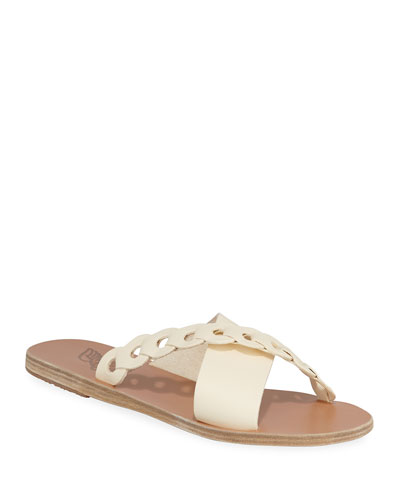Thais Linked Leather Flat Sandals