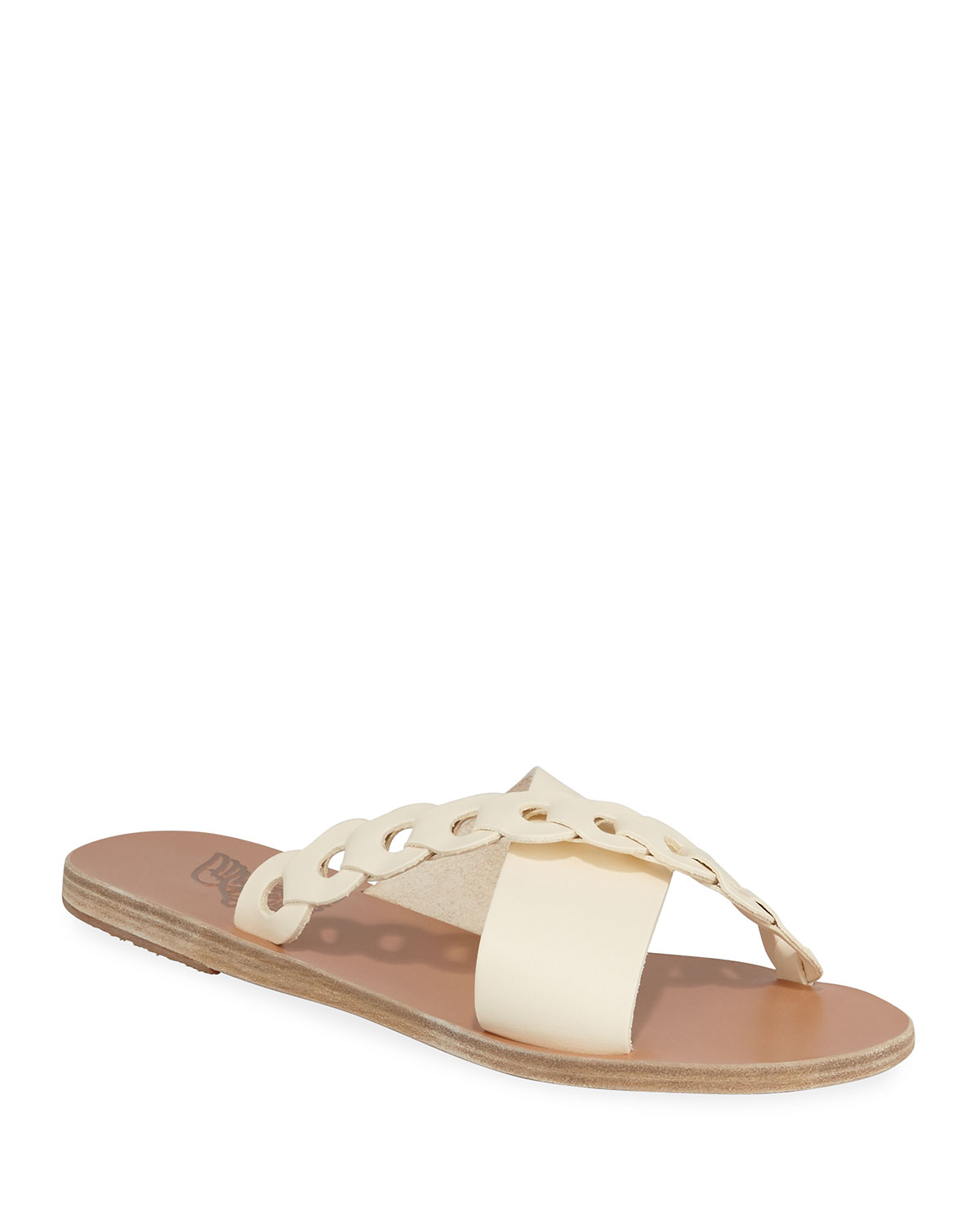f2e44877a9c5 Ancient Greek Sandals Thais Linked Leather Flat Sandals In Ivory ...