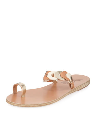 Thalia Link Flat Leather Sandals