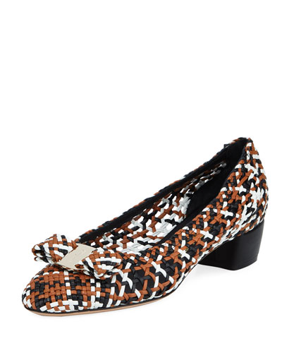 ba49211b9 Vara Woven Low-Heel Pumps Quick Look. Salvatore Ferragamo