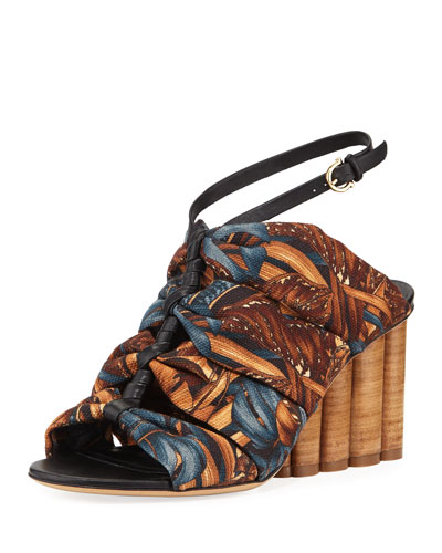 Salki Printed Canvas Ankle-Strap Sandals