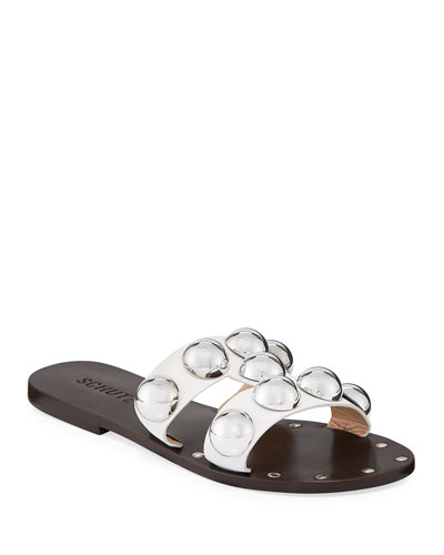 Benedita Flat Dome-Stud Leather Slide Sandals