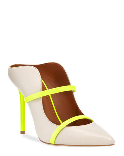 a67bdcb90123 Maureen Luwolt High-Heel Leather Mules with Neon Detail