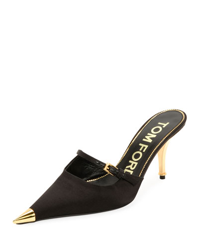 Satin Pointed Single-Strap Mules