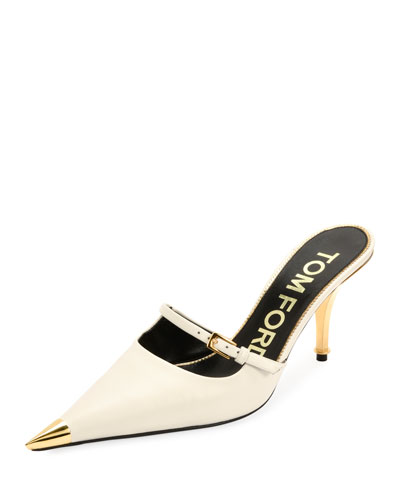 4194c44890d Leather Pointed Cap-Toe Slide Mules