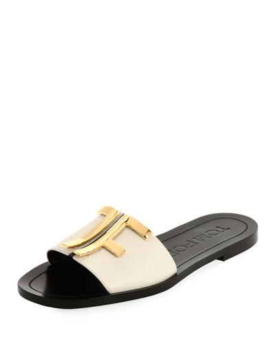 TF Leather Slide Sandals