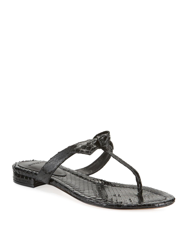 Clarita Naked T-Strap Python Sandals
