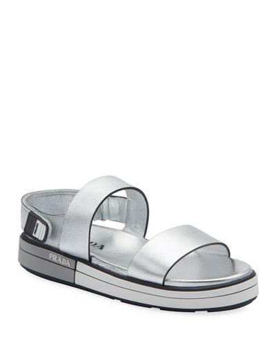 Metallic Platform Sport Sandals