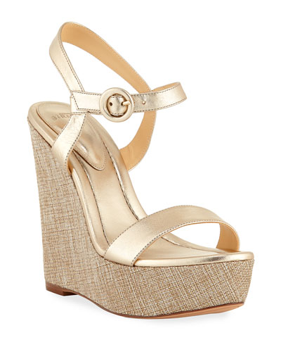 Corelle Metallic Leather Wedge Sandals