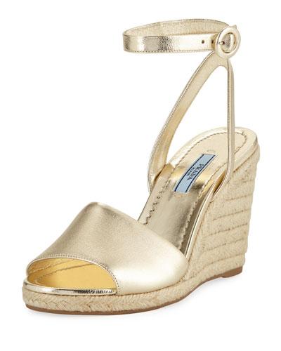 Metallic Wedge Espadrille Sandals