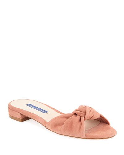 Kelli Suede Knot Slide Sandals