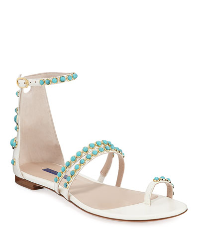 Petrina Studded Patent Leather Flat Sandals