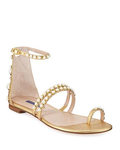 Petrina Flat Studded Metallic Sandals