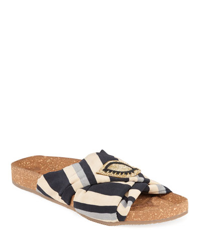 Suki Beaded Silk Slide Sandals