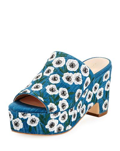 Amara Embroidered Denim Mule Sandals, Blue Pattern