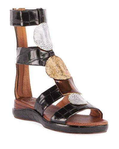 Wanda Flat Crocodile-Embossed Gladiator Sandals