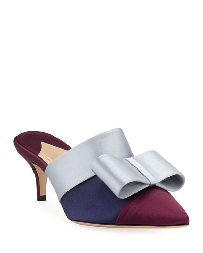Kosuth Colorblock Satin Bow Mules