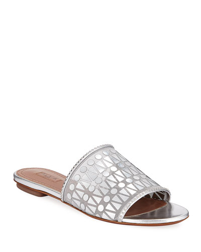 Filet Metallic Leather Slide Sandals