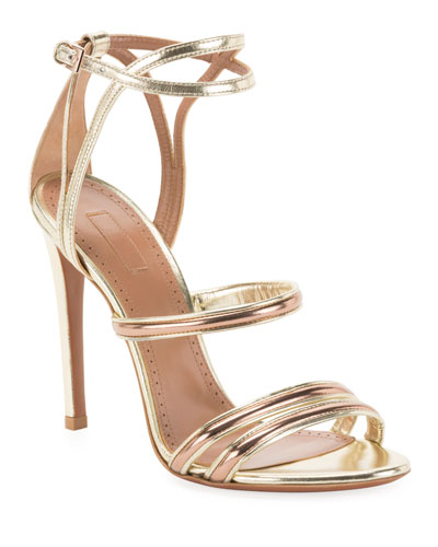 Mixed Metallic Strappy Sandals