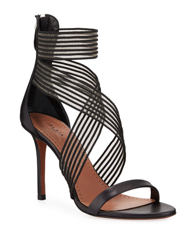 Elastic-Strap High-Heel Leather Sandals