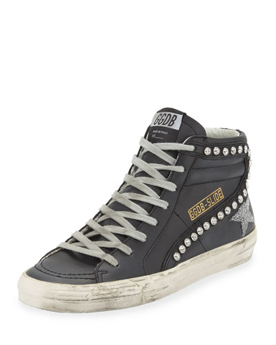Leather Crystal-Embellished High-Top Sneakers