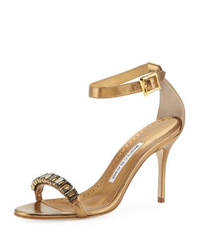 Jeweled Metallic Leather Sandals