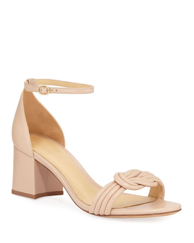 Malica Knot Block-Heel Leather Sandals