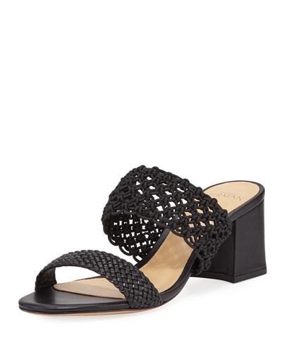 Lanny Crochet Leather Slide Sandals, Black
