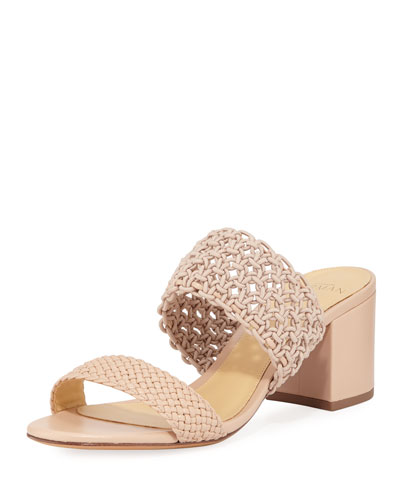 Lanny Crochet Leather Slide Sandals, Beige