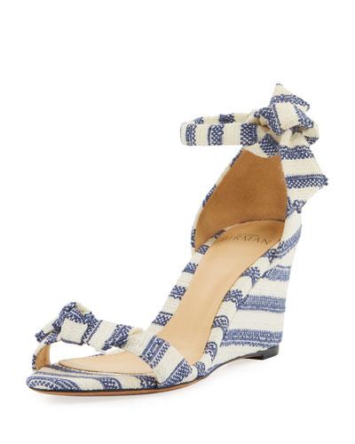 Clarita Striped Wedge Sandals