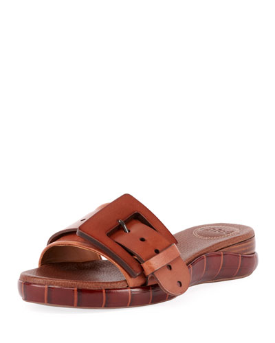 f13272d71c4 Willy Leather Buckle Slide Sandals