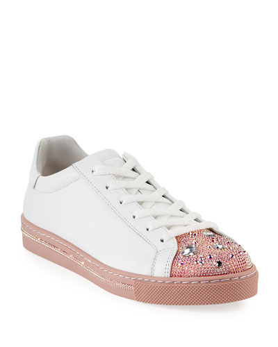 Crystal Heart Embellished Low-Top Sneakers