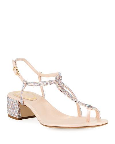 4404a62ec Rene Caovilla Crystal Sandal. Crystal-Embellished Leather Snake Sandals  Quick Look