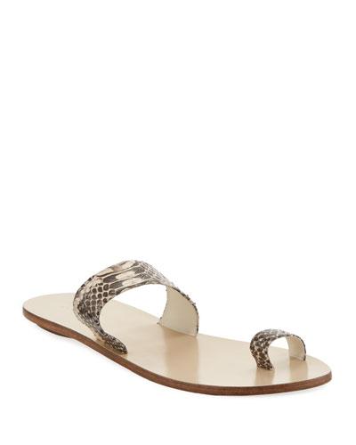 Cedric Snake-Embossed Flat Sandals