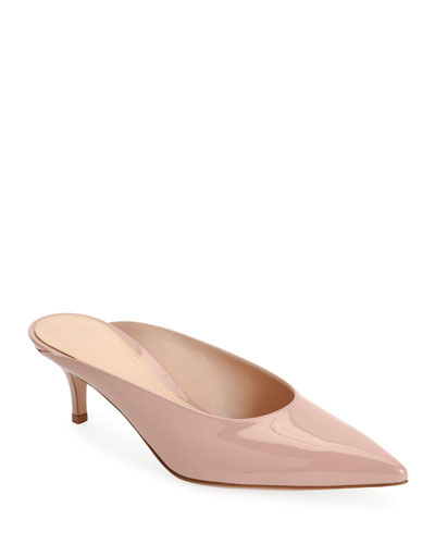 Low-Heel Patent Leather Dip-Vamp Mule, Nude