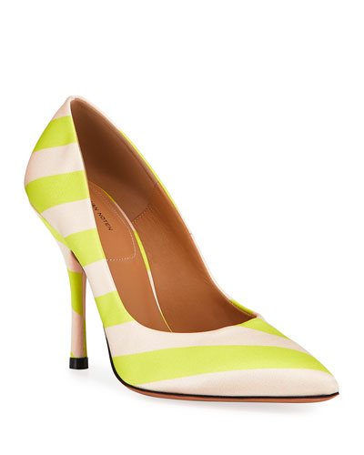 Striped Satin Pointed-Toe Pumps