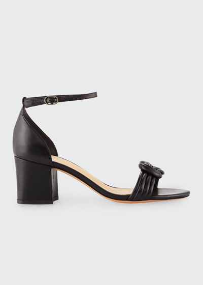 Vicky Knotted Leather Sandals, Black