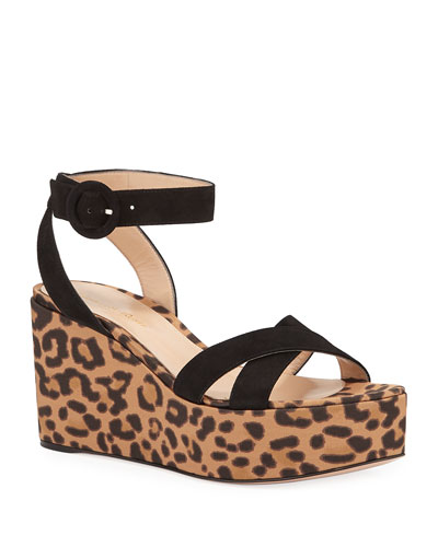 Leopard Satin Wedge Sandals