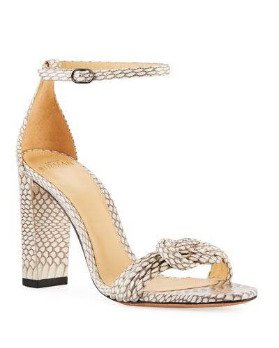 Vicky Knot Snakeskin Sandals