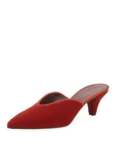 Ruby Velvet Pointed Mules