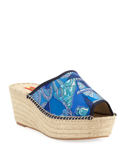 Josefa Silk Wedge Slide Espadrille Sandals