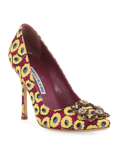 Hangisi Crystal-Buckle 105mm Pumps, Burgundy