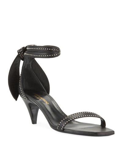Charlotte Studded Leather Ankle-Tie Sandals