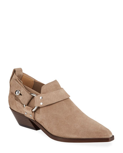 Suede Western Harness Ankle Booties